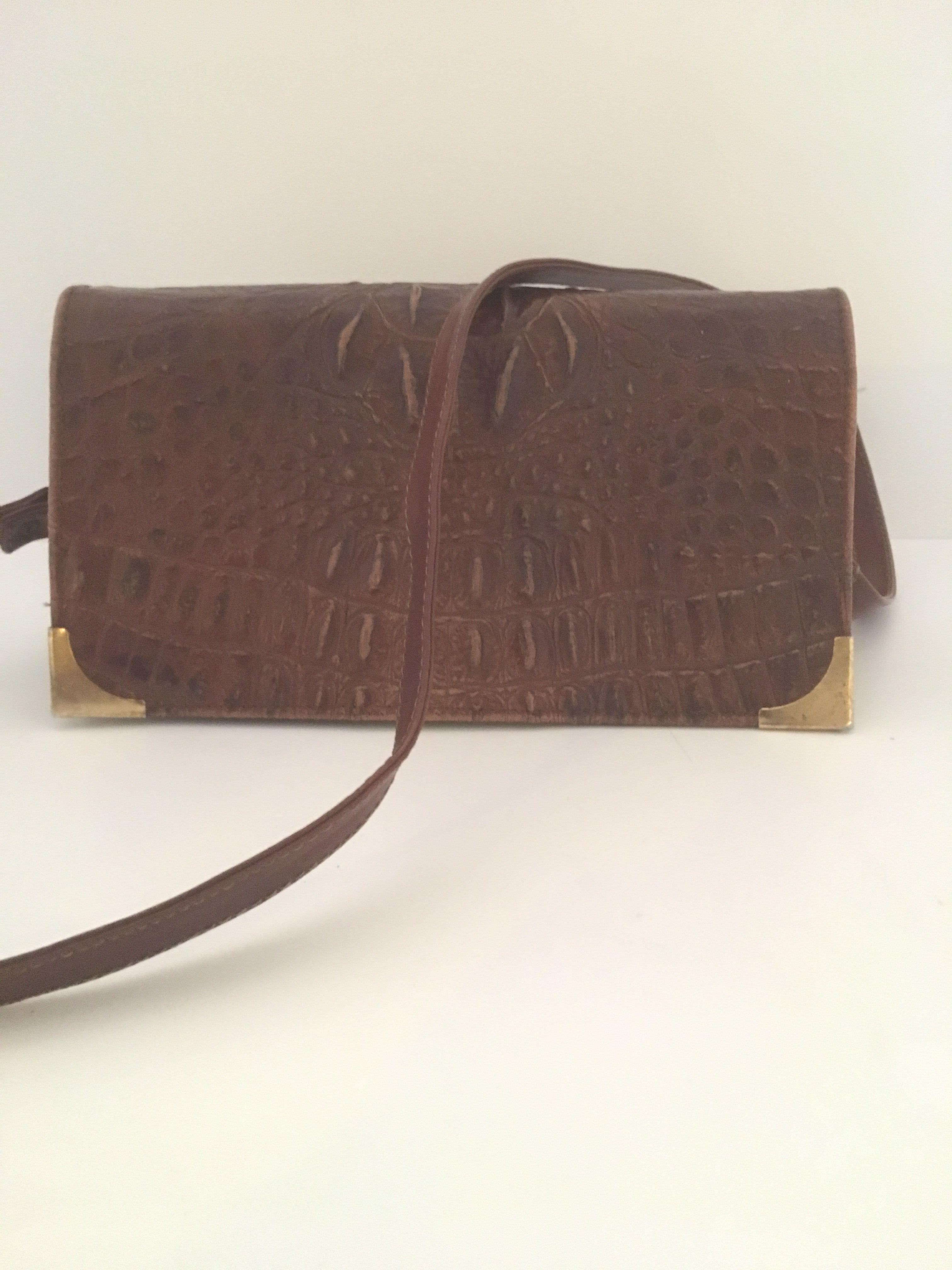 Unik Vintage taske i læder præget som krokodille skind.