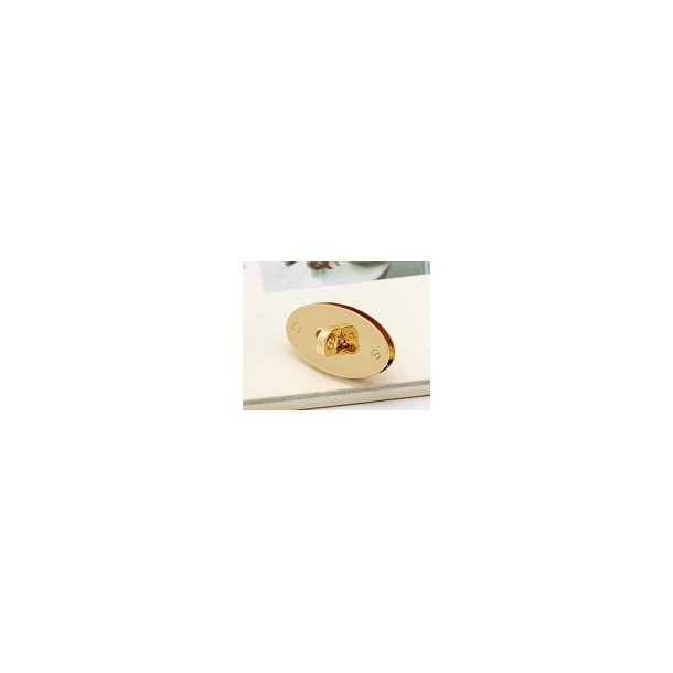Oval Taskelås i Guld